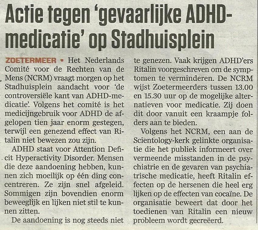 """Artikel AD - Actie tegen """"gevaarlijke ADHD-medicatie"""" op stadhuisplein"""