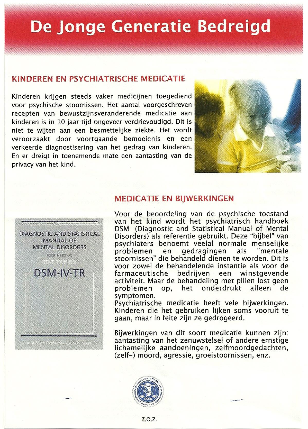 Flyer voorkant - De jonge generatie bedreigd met ADHD medicatie