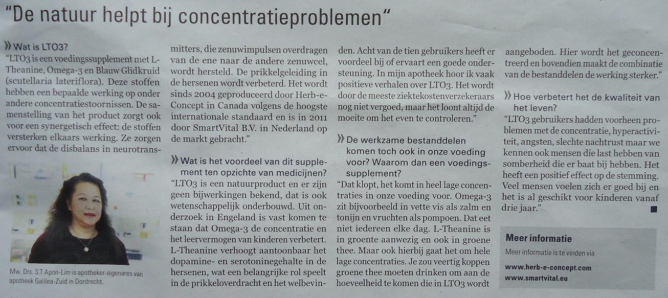 Artikel uit De Telegraaf over LTO3